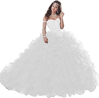 e750fc9048d24 Wanshaqin Women's Heavy Beaded Sweetheart Ball Gowns Dresses Organza  Ruffles Quinceanera Dresses for Sweet 16