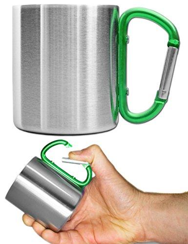 Outdoor Saxx Quart à boire, tasse de camping, compacte et légère, 200 ml, poignée vissée en mousqueton vert en acier inoxydable, pour la randonnée, le trekking, le travail