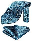 HISDERN Herren Floral Paisley Jacquard gewebt Ascot Set Blau/Beige