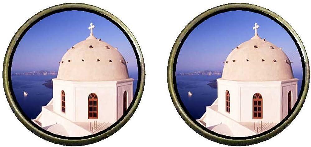 GiftJewelryShop Bronze Retro Style Cross On A Church Photo Clip On Earrings 14mm Diameter