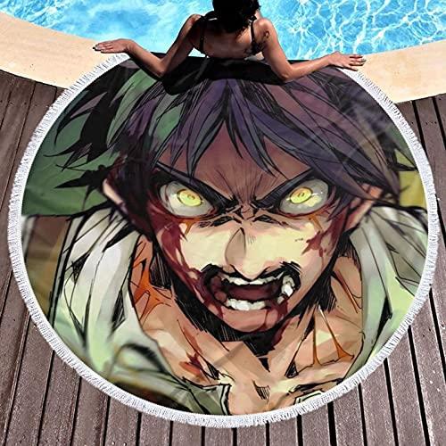 Anime Attack on Titan Eren - Toalla de playa Eren de microfibra de gran tamaño para piscina, natación, picnic, ocio, extra grande, redonda, suave, 59 pulgadas
