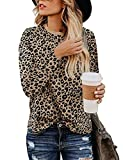lamibaby Women's Casual Tops Leopard Print T-Shirt Basic with Crewneck Long Sleeve Soft St...