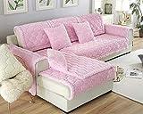 Sofás-Cama Plegables Fundas sofá Funda sofá Funda Deslizante Diferentes tamaños y Colores,Cojín de sofá de Pelo Largo Grueso,Rosa,Funda de Almohada de 45X45cm