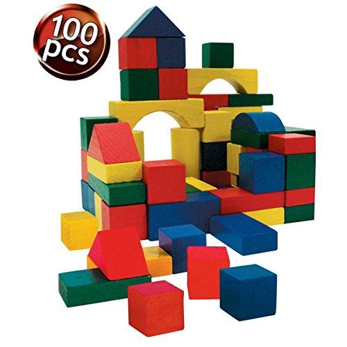 LIFETIME-90354 Block Madera en un Cubo con 100 Piezas (90354)