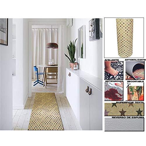 Comercial Candela Alfombra de Pasillo de Textil Resinado Antimanchas, Lavable   Base PVC Antideslizante y Aislante Diseño Estrellas Colores (65_x_250 CM)