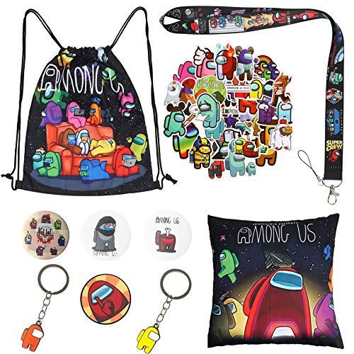 bilkoivn Among Us - Set de regalo con bolsa de dibujo, funda de almohada, pegatinas, llavero y lanyard