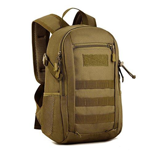 Huntvp 12L Rucksack Taktisch Wanderrucksack Molle Schultasche Wasserdicht Daypack Militärisch Schulrucksack Mini Studenttasche Unitasche Sporttasche Laptoptasche für Outdoor Sport - Braun