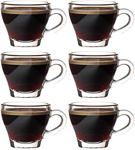 idea-station Espressotassen 6 x 80 ml, Design Espressogläser dickwandig, Tassen-Set, Kaffeetassen-Set, Kaffeetasse, Mokkatassen
