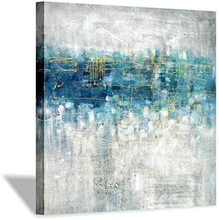 Abstract Modern Canvas Wall Art Blue and Gray Picture on Canvas for Office 24 x 24 x 1 Panel product image