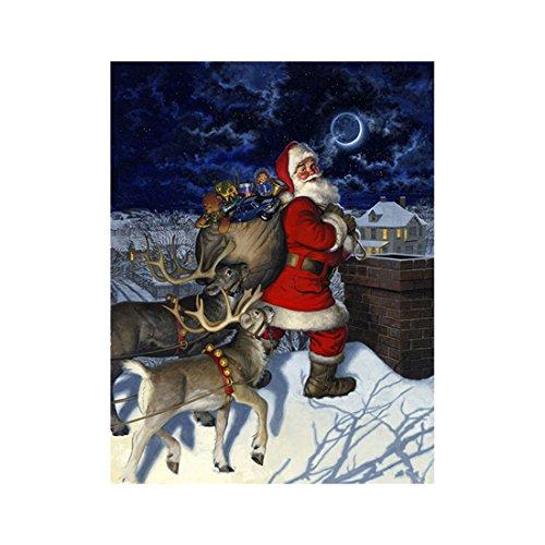 Diamant Malerei Weihnachten Kreuzstich-Satz Weihnachtsmann Geschenke geben 25 x 30CM