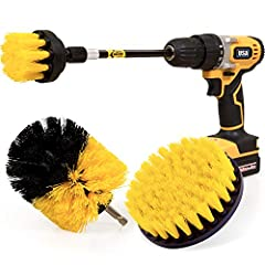 3 shape of brushes clean your bathtub, grout, upholstery, bathroom surface, floor, tile, shower, toilet and carpet etc, Nylon bristles will not scratch surfaces of them. Extended reach attachment help brush to clean the tight spaces or hard-to-reach ...