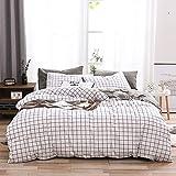 OLDBIAO Baumwolle Bettwäsche Set Kariert Bettbezug 200x220cm mit Reißverschluss Schwarz Weiß Karo + 2X Kopfkissenbezüge 80x80cm Damen Bettwaren