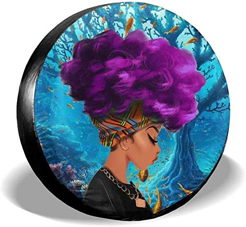 ADGoods Cubierta del neumático Sunscreen Protective Cover Purple Explosion African Girl Underwater World Water Proof Universal Spare Wheel Tire Cover Fit For Trailer, RV, SUV and Various Vehicles 14'