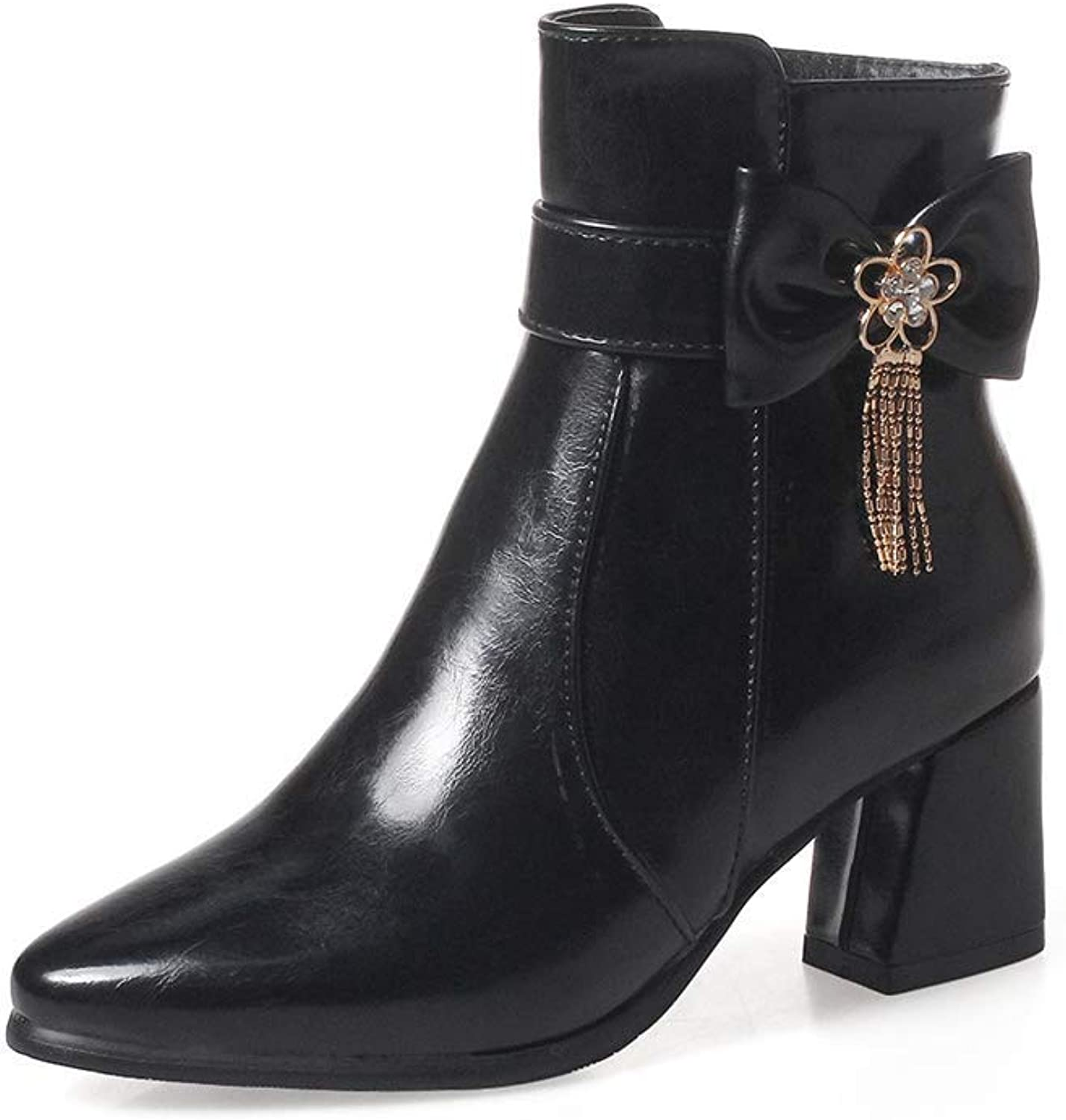 Webb Perkin Women Fashion Bowknot Martin Boots Side Zipper Chunky Heel Winter Booties Lady Pointed Toe Ankle Boots