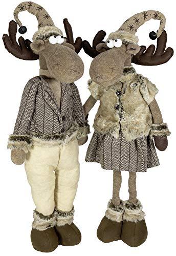 Christmas Paradise Deko-Figur Elch Ausziehbare Beine 2er Set Weihnachts-Dekoration 2 Designs Rentier 50-80cm Braun