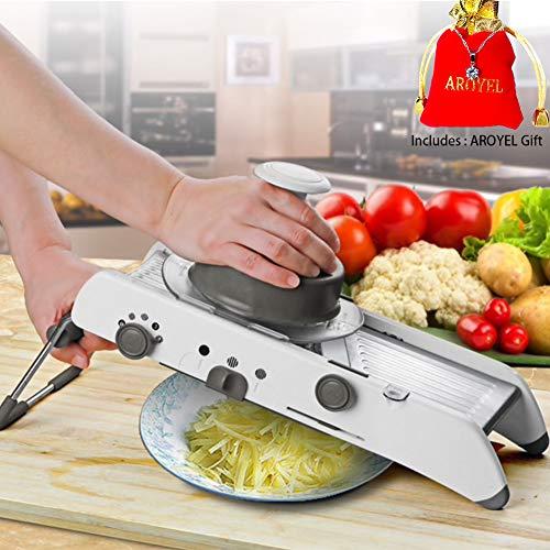 Cortador manual de hojas ajustable AROYEL cortador manual de verduras rallador profesional para frutas y verduras – rallador y cortador de juliana (incluye regalo de Ariel)
