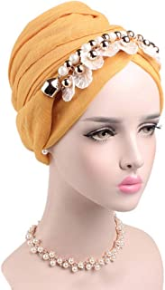 Fashian Lady Pendant Balinese Yarn Muslim Turban Pleated Head Wrap Scarf Long Tail Hat Pre Tied Headwear Cancer Chemo Cap WJ-20 (Color : 10, Size : One Size)