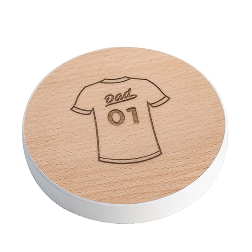 No 1 Dad Coaster - Engraved Dad Gifts from Daughter Son Kids - Unique Fathers Day or Birthday Gift - Baseball Jersey Design - White Painted Edge Beech Wood Keepsake