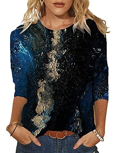 nvIEFE Camiseta casual de media manga para mujer con estampado de cuello redondo, Negro, XXX-Large