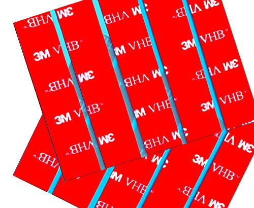 10 x 3M VHB Number Plate Sticky Pads, Adhesive Double Sided Stickers, Car License Plates Fixings Strong Heavy Duty Tape
