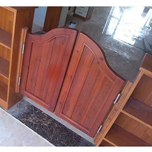 GuoWei Pine Wooden Saloon Door Swinging Door Cafe Door Bar Kitchen Restaurant Entrance Divider, Hinge Included, Customizable (Color : Brown, Size : 95x90cm)