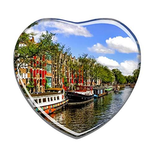 Hqiyaols Souvenir Holland Canal Amsterdam Kühlschrankmagnet Herzform Kristall Kühlschrank Aufkleber Magnet Reisen Geschenk Sammlerstücke Andenken