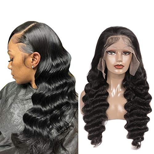 Loose Deep Wave Lace Front Wigs Human Hair with Baby Hair Brazilian Virgin Hair Human Hair Wigs for Black Women Pre Plucked Natural Hairline 150% Density Swiss Lace (16 Inch, 13x4)