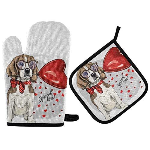 Juegos de soportes para ollas de manoplas para horno - Cute Love Dog Guantes para horno Almohadillas calientes resistentes al calor Agarraderas antideslizantes