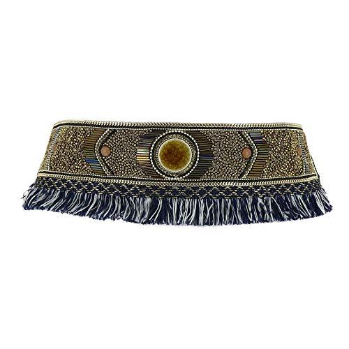 Fashiongen - Cinturón Elástico perlas Ancha Etnico Franja para Mujer JILL - Negro, S-M / 36 a 40