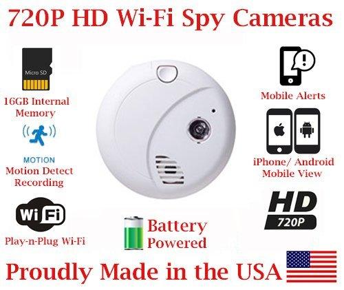 Great Deal! SecureGuard 720p HD Wi-Fi Battery Powered Wireless IP Smoke Detector Hidden Security Nan...