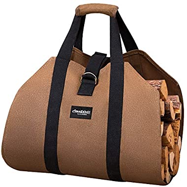 AMAGABELI GARDEN & HOME Carrier Waxed Canvas Fireplace Sturdy Fire Wood Carring Bag with Handles Security Strap for Camping Indoor Firewood Log Tote Holder Birchwood Stand by Hearth Stove Accessories