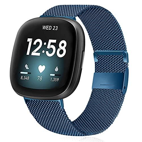 KIBDSNG Pulsera compatible con Fitbit Versa 3/Fitbit Sense, correa de metal de acero inoxidable de repuesto para Fitbit Versa 3/Fitbit Sense, para hombre y mujer, Metal.,