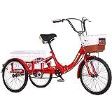 ZNND Triciclo Adulti Pieghevole Tricicli per Adulti 1 velocità Trike Biciclette 3 Ruote con Cesto per Ricreazione, Shopping, Picnic Esercizio da Donna da Uomo Bici da Crociera