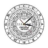 mazhant Circle of Fifths Stave Músico Compositor Regalo Enseñanza de música Reloj de Cuarzo Colgante Moderno Teoría de la armonía Reloj de Pared de Estudio musical-30X30cm