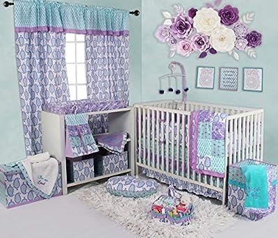 Bacati - Sophia Paisley 10 Pc Girls Crib Baby Bedding Set Including Bumper Pad 100 Percent Cotton. (Lilac/Purple/Aqua)