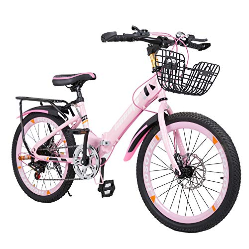 Folding Kids Bike 18/20 inch, 7 Speed Double Disc Brake BMX Bike for 6-15 Years Boy and Girl, Children Teens, Portable Outdoor Bicycle with Backseat