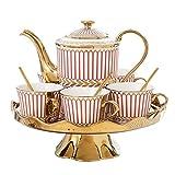 DHTOMC Recipientes Coffee Service Set Juego de Tazas de té de cerámica con Rayas Doradas Europeas Incluye una Taza de té de 6 Piezas con una Bandeja de té giratoria para la Boda de Porcelana cerá