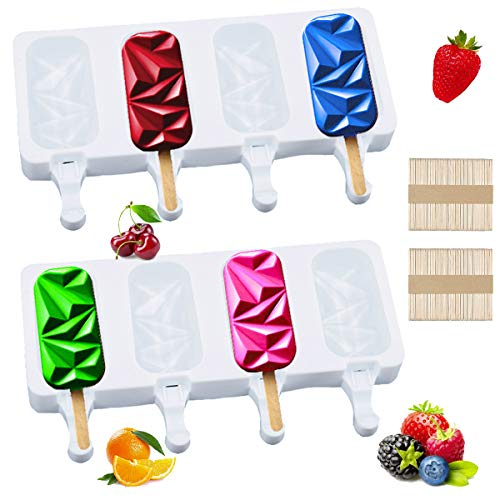 xlopsd 2 pcs Ice Pop MoldsSilicone Popsicle MoldsHomemade Ice Pop MoldsDiamond Ice Cream Mold Mousse Mold with 100 pcs Wooden Sticks for DIY PopsiclesCakesCandiesChocolateIce cubes