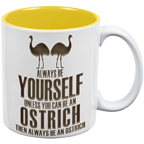 XOX-T Always Be Yourself Ostrich All Over Coffee Mug White-Yellow Standard One Size White-Yellow