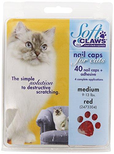 SOFT CLAWS Kit de Protège-Griffes pour Chats Adultes, Medium, Rouge