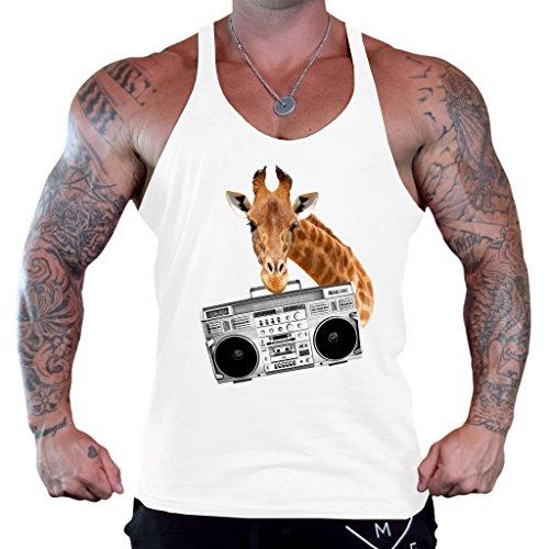 Interstate Apparel Inc Men's Giraffe Boombox Tee B1135 PLY White Stringer Bodybuilding Tank Top 2X-Large