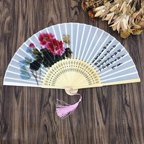 weichuang 1 pieza de estilo chino 100% seda bambú poema oriental plegable de mano abanico de baile fiesta boda (color: 1)