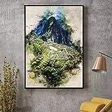lubenwei Machu Picchu in Aquarell Leinwand Malerei