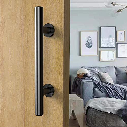 CCJH Poignée de porte coulissante et affleurante en noir pour portes coulissantes en bois