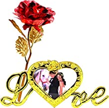 Lavanya Silver 24k Golden Red Rose and Love Photo Stand with Box (30 X 10 X 8 cm Red)