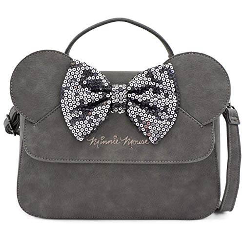 Loungefly x Minnie Mouse Sequin Bow Crossbody Bag, Grey, 11.5' x 8.5' x 3.5'