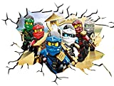 Ninjago V103 Wall Crack Wall Smash Wall Sticker Self Adhesive Poster Wall Art Size 1000mm wide x 600mm deep (large) by Chicbanners