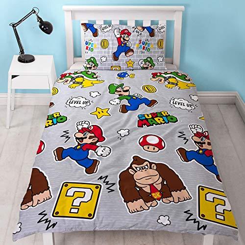 Nintendo Official Super Mario Level Up Single Duvet Cover Design   Reversible Two Sided Mario & Luigi Grey Bedding Duvet Cover With Matching Pillow Case