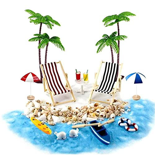 Casa de muñecas en miniatura Accesorios Beach Decoración del paisaje de la playa Micro con tumbonas Parasoles de la palmera para el verano 18PCS, casa de muñeca Accesorios