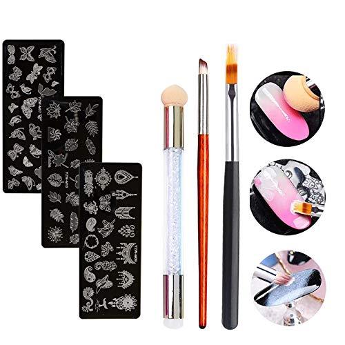 MWOOT Nailart Pinsel Set mit Nagel Stempel Schablonen (Kit mit 6), Nagelkunst Nagelpinsel für Gelnagel Zeichnen, Ombre Schwamm Pinsel mit Silikon Stamper, Blumen Schmetterling Stamping Platten